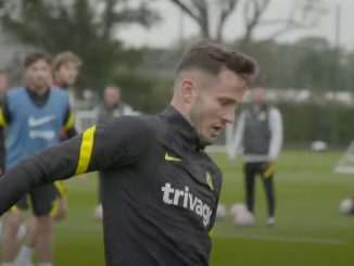 (Video): Saul gets stuck in to his first Chelsea training session